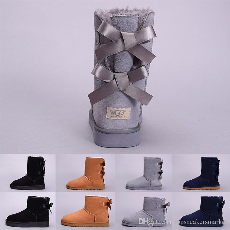 ff4674489 Compre WGG Invierno Mujer Botas Australia Classic Kneel Botines Negro Gris  Castaño Azul Marino Rojo Niña Dama Tall Moda Zapatos De Nieve Tamaño 5 10 A  ...