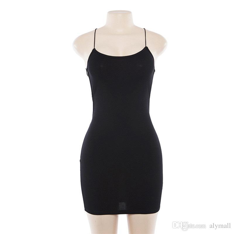 솔리드 스트랩 크로스 붕대 Bodycon 여름 드레스 여성 민소매 Backelss 미니 드레스 여성 섹시한 파티 드레스 vestidos