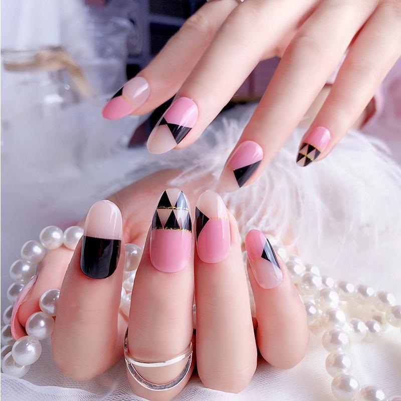 Fashion Long Design False Nails Mix Pink Black Triangle Pre Design ...