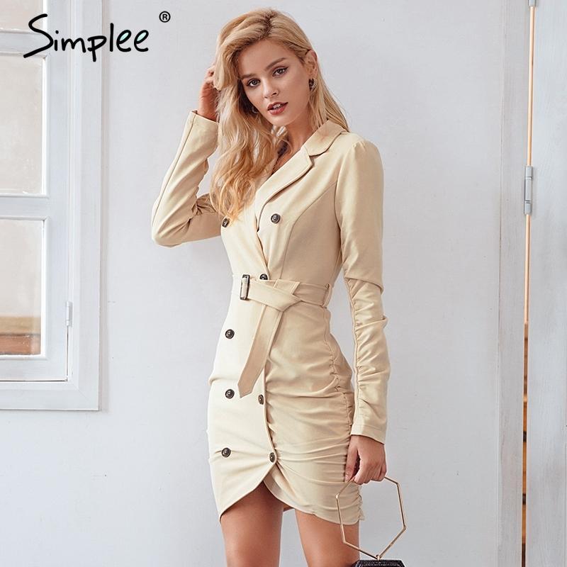 Acquista Simplee Elegante Doppio Petto Trench Donne Cinture A Pieghe  Avvolgere Il Vestito Sexy Autunno Inverno 2018 Party Dress Vestidos  D18111206 A  31.93 ... 489261dc27e