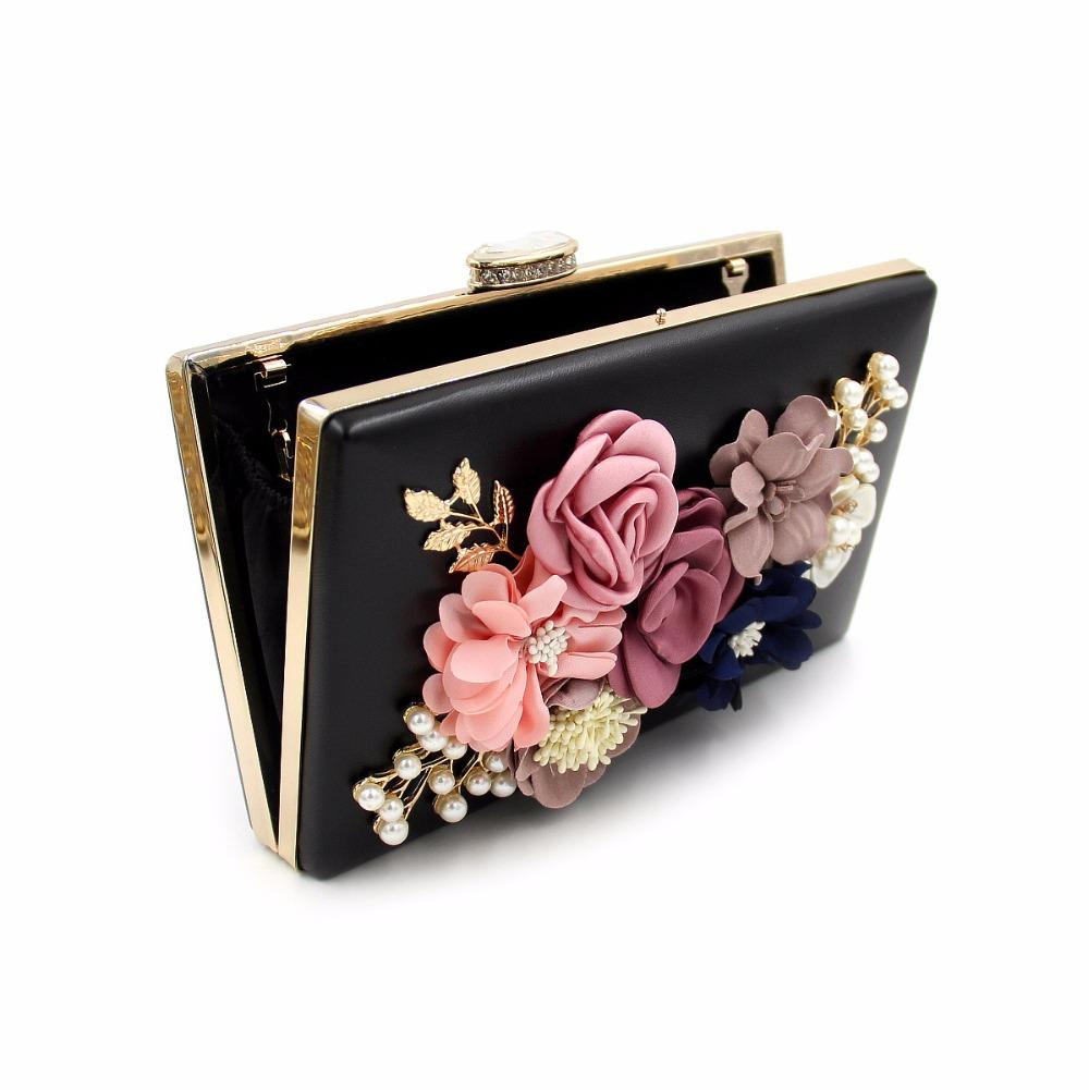 Good quality luxury fashion charm charm flowers pearl ladies party clutch bag evening bag women's handbag chain shoulder bag
