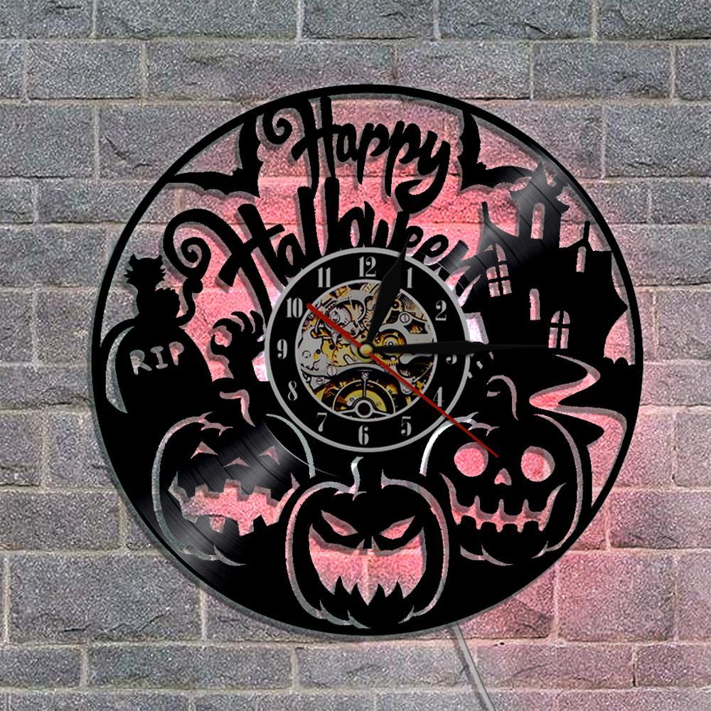 happy halloween vinyl record wall clock laser etched pumpkin shadow