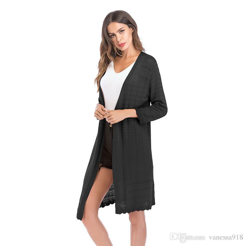 7ed40514c463 Autumn Fashion Women Cardigan Sweater Thumb Hole Long Sleeve Solid ...