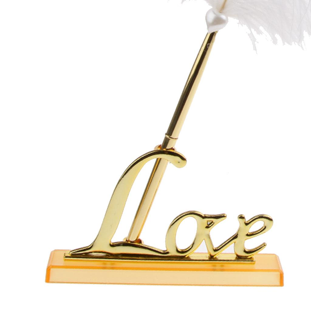 Pluma blanca que firma la pluma con el chapado en oro Love Love Holder Wedding Set Set Wedding Party Decoraciones Favores de fiesta Accesorios