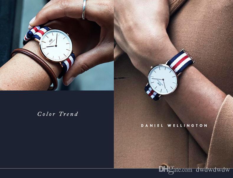Nato Bunte Nylon Uhren Männer und Frauen Kleider Sport Quarzuhren Luxus Top Marken Fashion Uhren 36 / 40mm Geschenk Tabellen luxe Montre