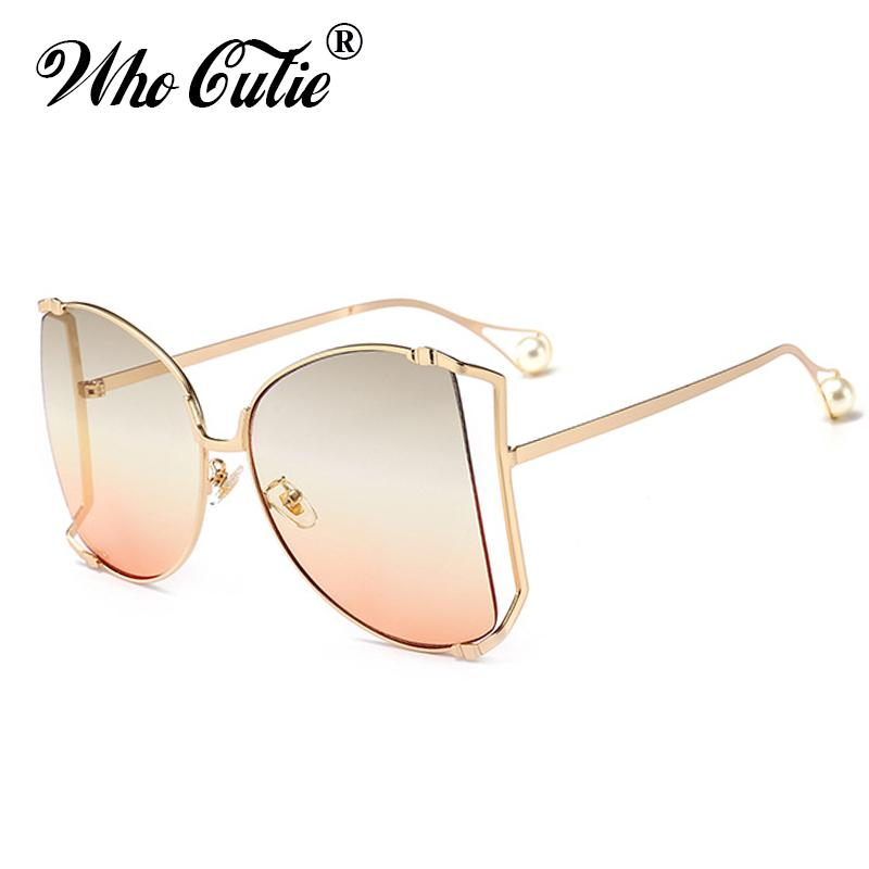 408c033b68 WHO CUTIE 2018 Oversized Round Butterfly Sunglasses Women Retro Vintage  Lady Metal Frame Pearl Tips GG Sun Glasses Shades OM564 Cheap Prescription  ...