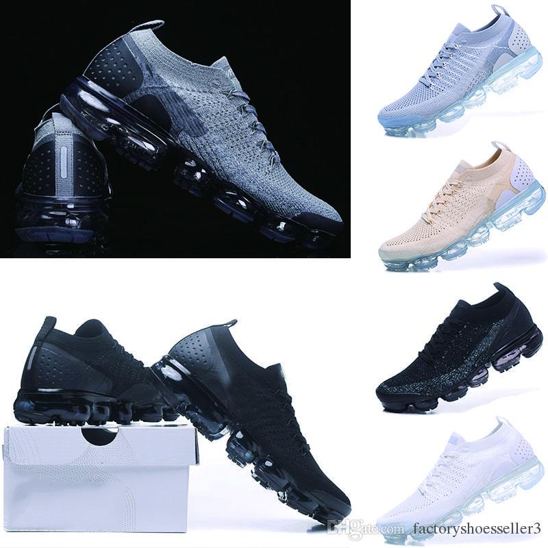 the latest cb62a a5956 Acheter Nike Air VaporMax 2018 Flyknit 2.0 Chaussures Casual Chaussures  Noir Bleu Rouge Soyez Vrai Hommes Femmes Designer Casual Chaussures 36 45  De  37.3 ...