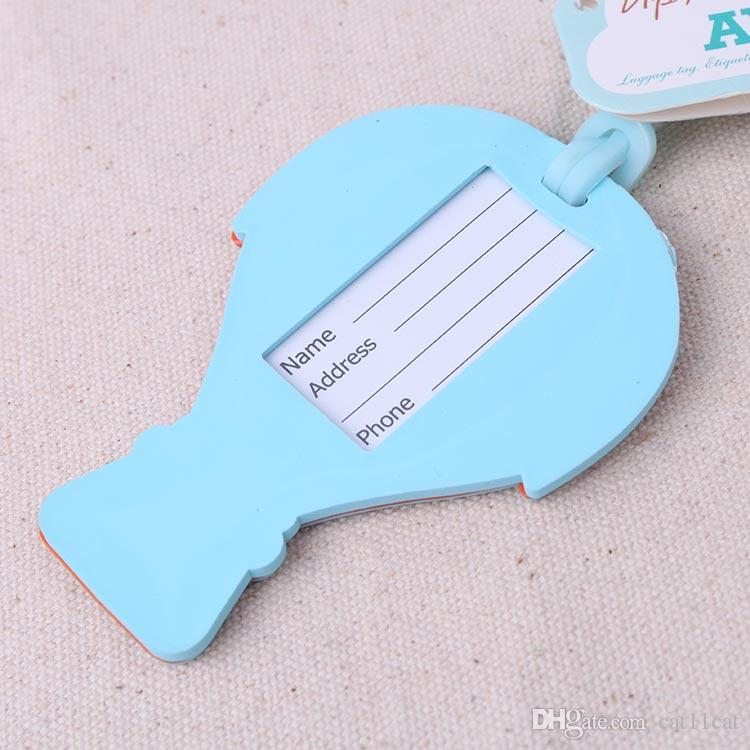 "New Wedding Gift For Guest""Up, Up & Away"" Hot Air Balloon Rubber Luggage Tag Travel Bridal Shower Favors+"