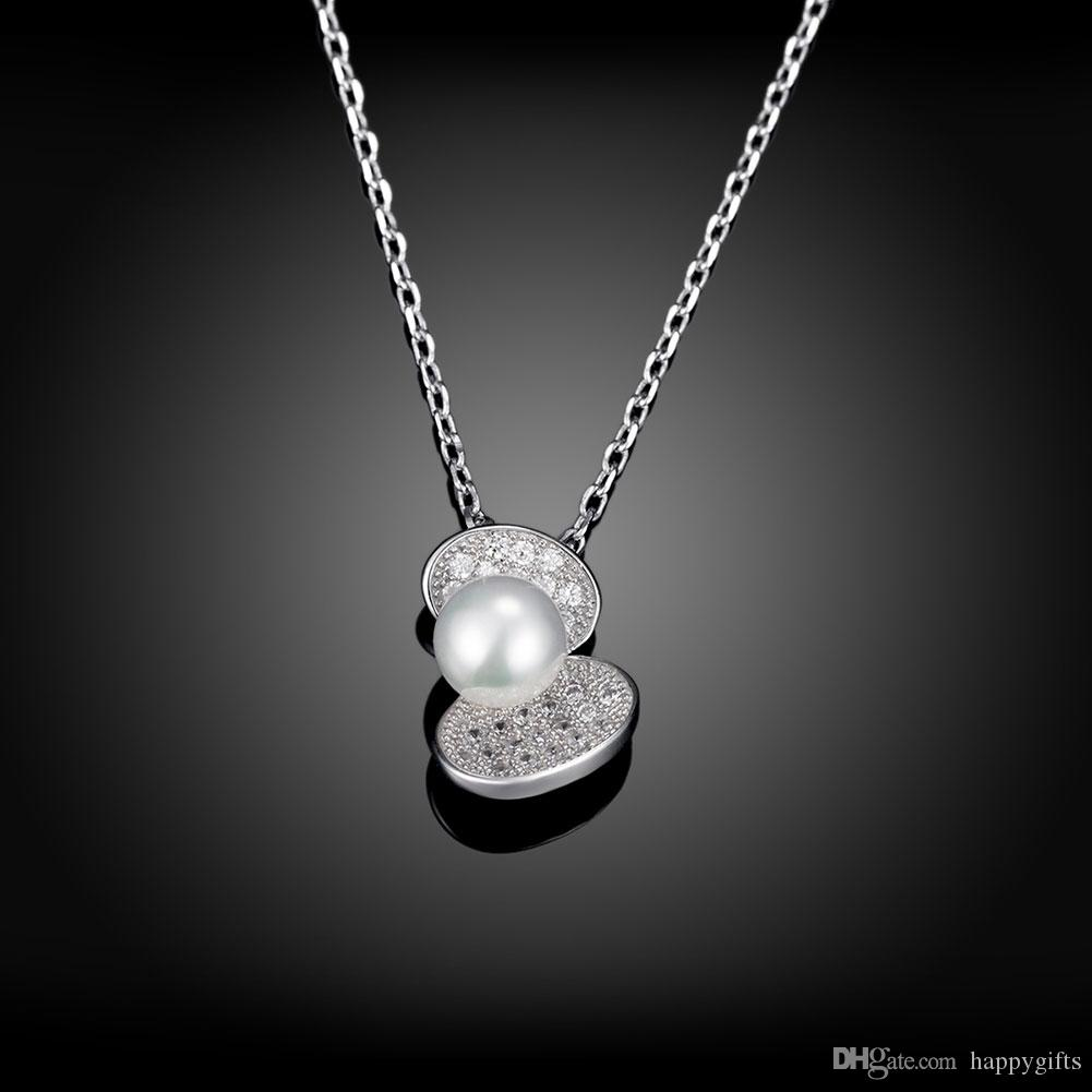 925 sterling silver necklace shell pendant with chain pearl necklace with zircons amazing gifts pearl pendant