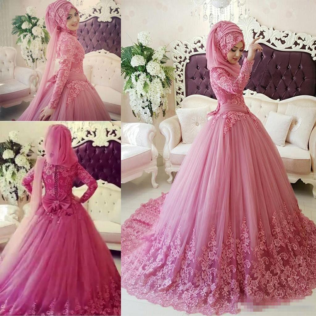 Discount Arabic Muslim Wedding Dress 2017 Turkish Gelinlik Lace Applique  Ball Gown Islamic Bridal Dresses Hijab Long Sleeve Wedding Gowns Coloured  Wedding ... a91273de4b03