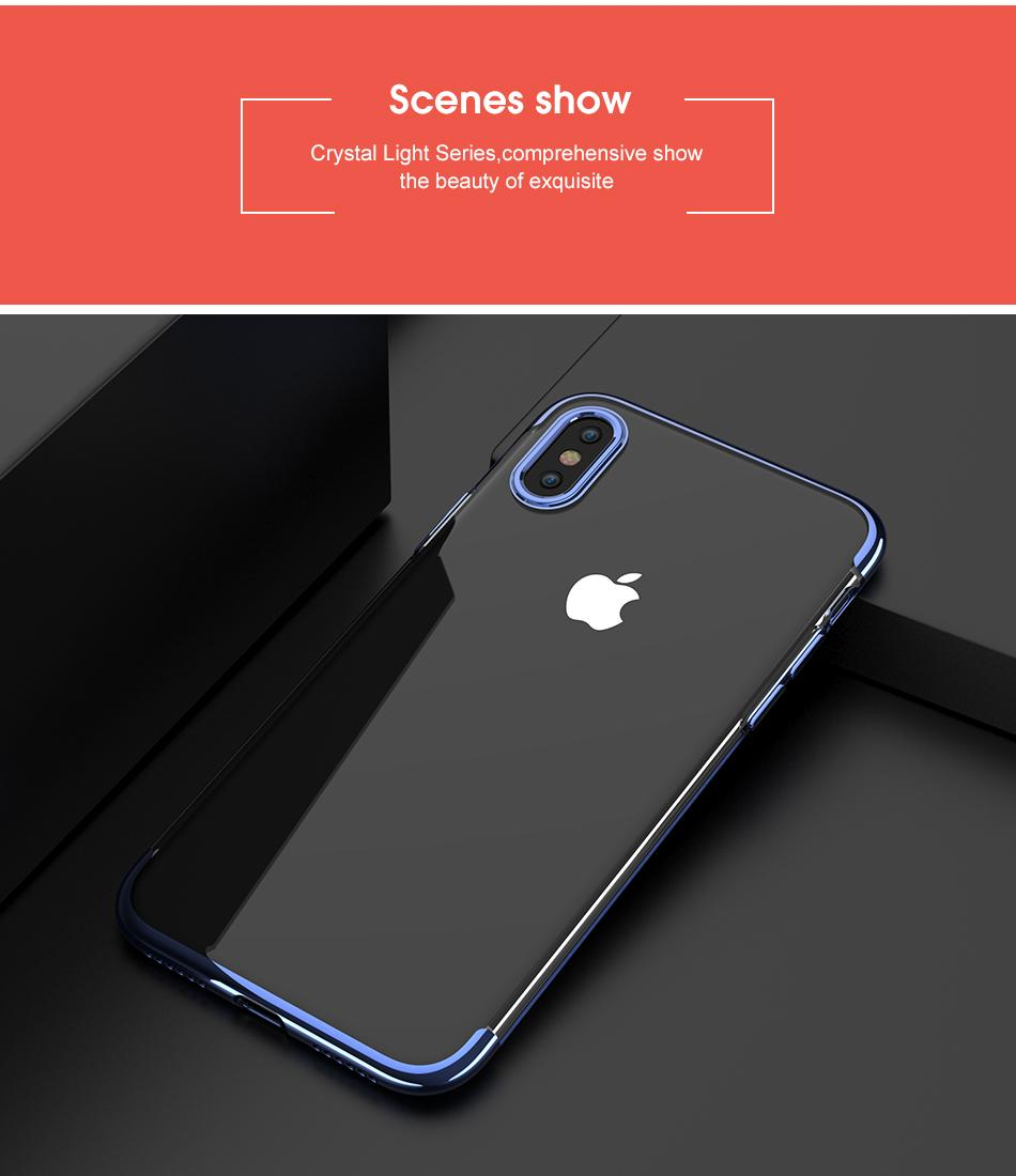 Luxury Plated TPU Cases For iPhone X Transparent Ultra Thin Silicone Cover For iPhone 8 7 6 6S Plus Phone Accessories