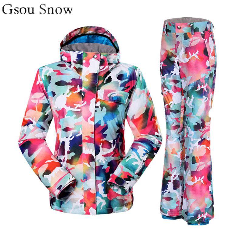 2019 2018 NEW Gsou Snow Ski Suit Female Cool Snowboard Jacket   Pant Women Mountain  Skiing Set Purple Cloud Ski Suit From Llh521513 1e870c86a