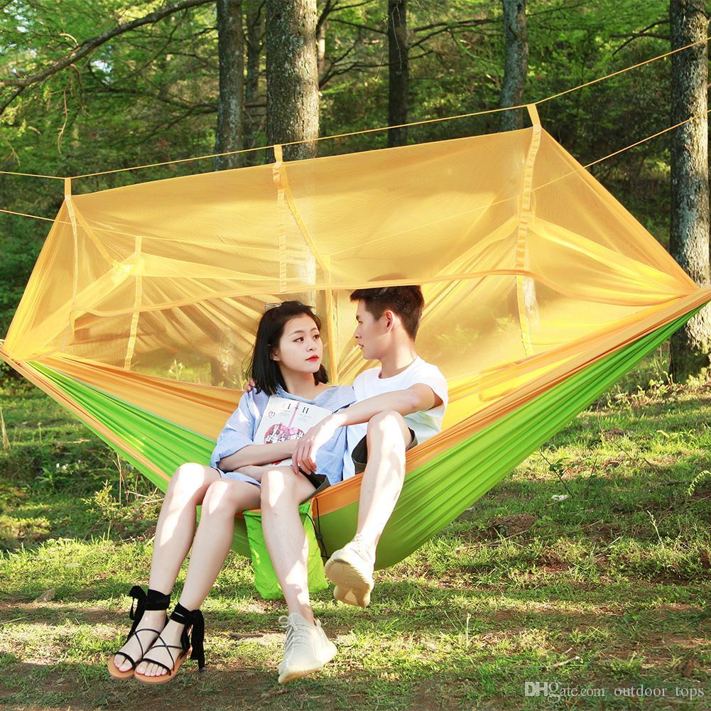 12 Colors Portable Camping Hammock Parachute NylonTravel Outdoor Swings Hammocks Mosquito Nets Hanging Beds for Double Person 260*140cm