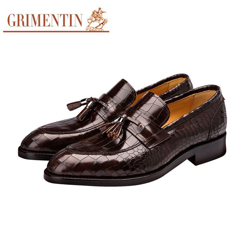 13d76a74596 GRIMENTIN Hot sale brand customized handmade mens shoes leather crocodile  tassel men dress shoes fashion business wedding party mens shoes