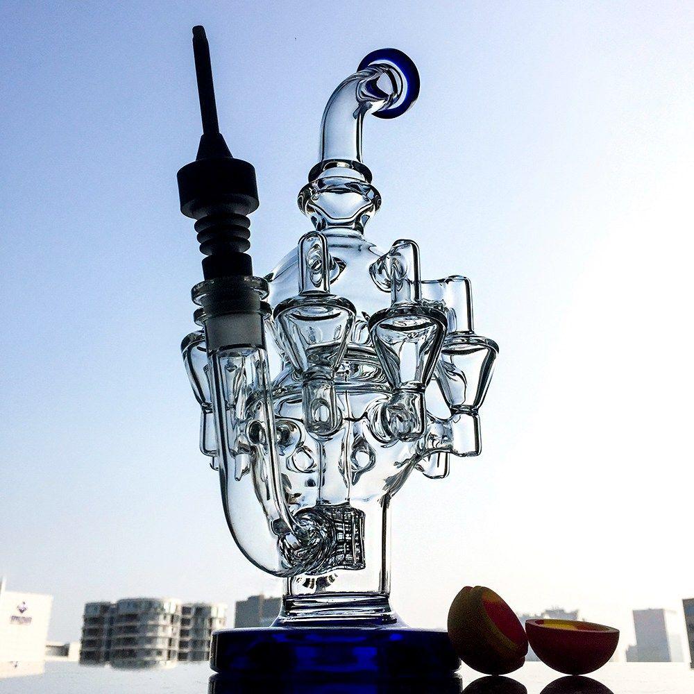 Neue Design Tall Matrix Perc Glas Bong Recycler Bong DAB-Öl-Anlagen mit Oktopusarme Wasserleitungen mit keramischer Nagelkugelkappe OA013