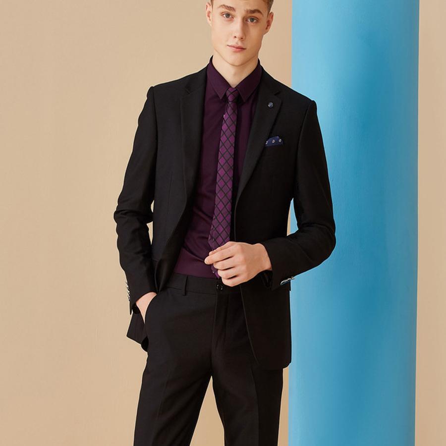 Compre Blazer Negro Traje De Hombre De Negocios Vestido De Novia Novio  Esmoquin Trajes De Novio Traje Ajustado 2 Piezas Chaqueta + Pantalones  Mejores ... bcb84543319