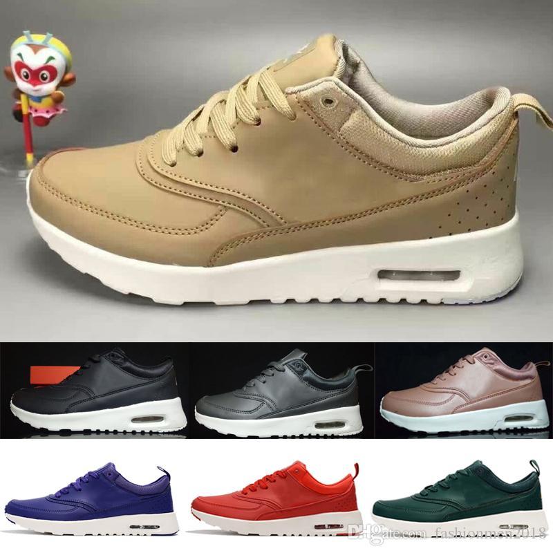 official photos 1ede5 8f338 Compre Nike Air Max Vapormax Newst Wholesale 2018 Hombres Casual Thea 87 90  Cuero Negro Rojo Azul Gris Trainer Chukka Ligero Transpirable Zapatos De ...