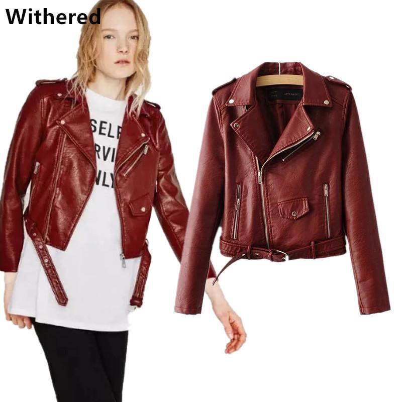 2019 Withered Leather Jacket Female Red Wine Color High Quality Turn