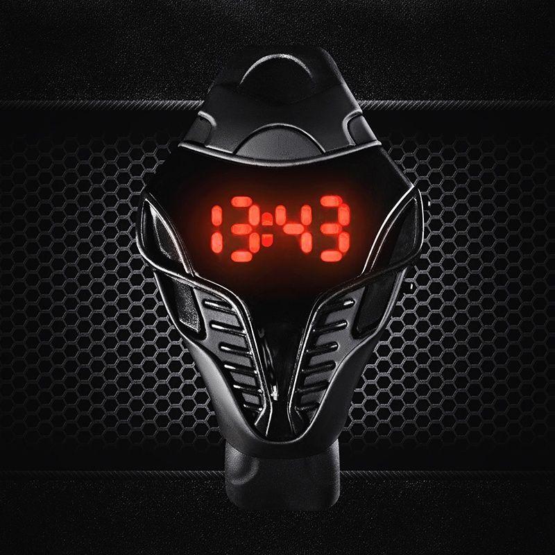 Moda Blackwhite Cor dos homens LED Relógio Digital Cobra Triângulo Dial Silicone Esportes Relógios Tactical assista Crianças presente de Ano Novo