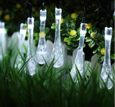 Freies Verschiffen-bunte Regentropfen-Solarlampe-wasserdichtes Weihnachtsfeiertags-im Freiengarten-Dekorations-feenhaftes Solarbatterie-Schnur-Licht