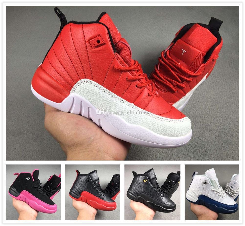huge selection of 26f1b 7d58c Großhandel Nike Air Jordan Aj12 Kinder Schuhe 12s Basketballschuhe Jungen  Mädchen Französisch Blau Die Master Taxi Kinder Sportschuhe Kleinkinder ...