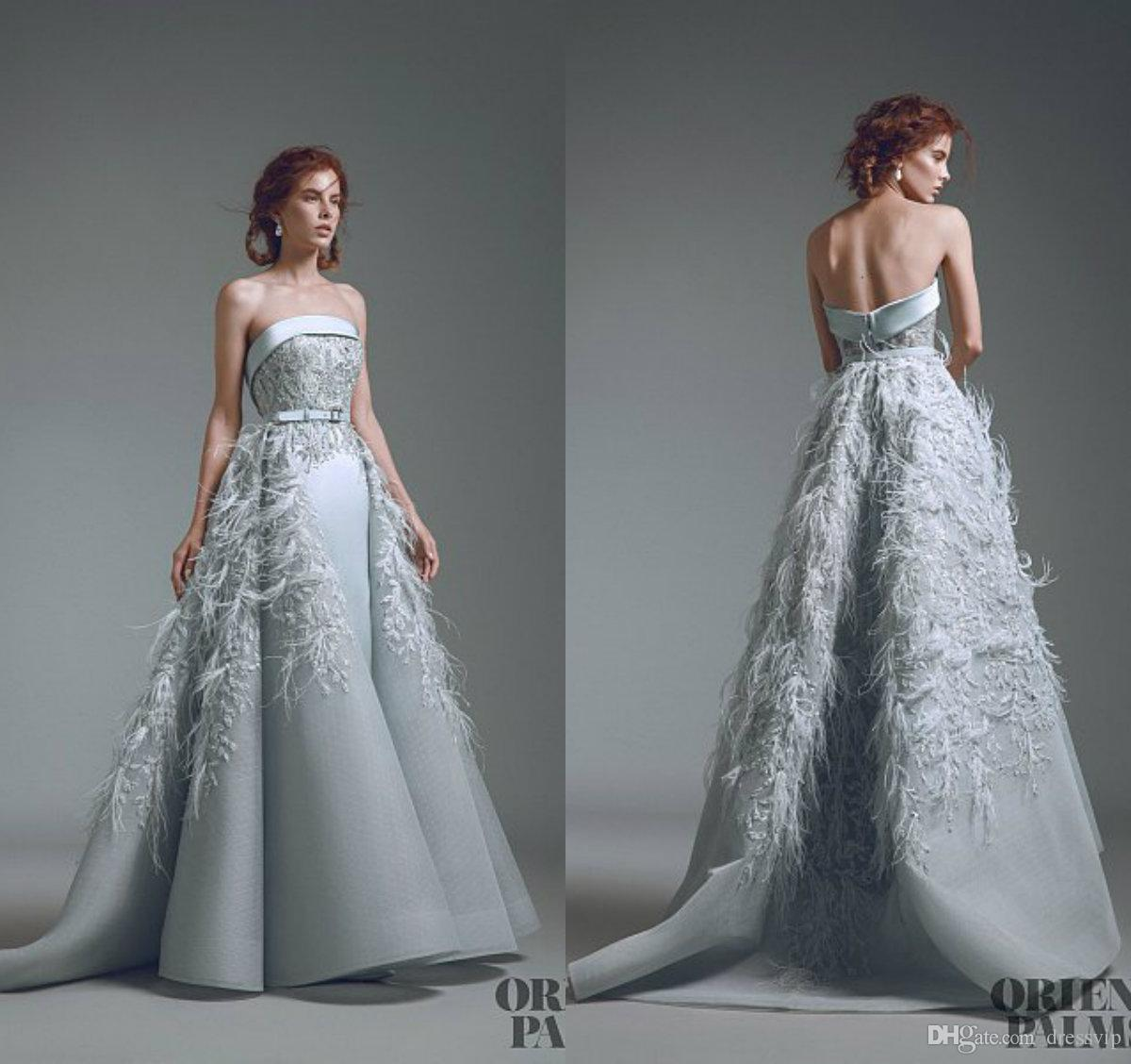 Elegant Evening Formal Dresses 2018 With Detachable Skirt Feather Lace Appliques Beaded Prom Dress Custom Made Mermaid Evening Gowns
