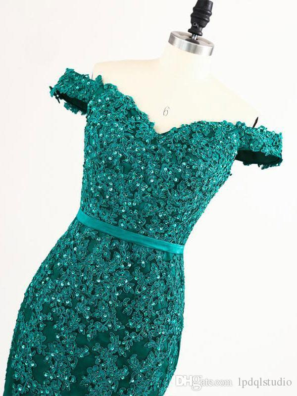 Off Shoulder Mermaid Evening Dresses Dark Green Pleats Tulle Applique with beads Sequins Sweep Train Long Prom Dresses