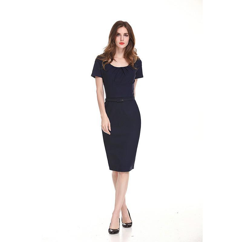 74d386ad53 2019 Female Formal Work Pencil Dresses Ladies Bodycon Office Dress Short  Sleeve Slim Knee Length Waist Dresses From Sinofashion