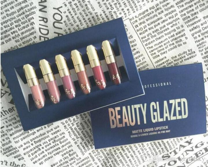 Beauty Glazed Gold Cosmetics Birthday Edition Set Lipgloss Cosmetics Matte Liquid Lipstick Lipgloss Lip Gloss Kit Beauty Glazed = 6p