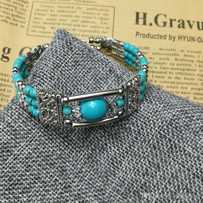 shen fashion beaded bracelet making with steel wire turquoise zinc casting ccb cheap price