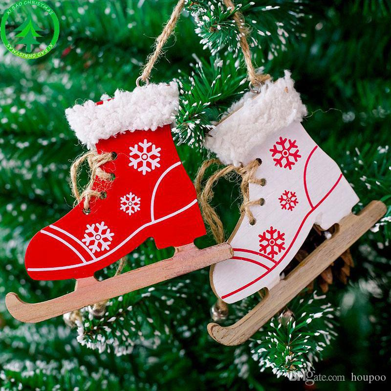 wooden ice skate pendant xmas tree decor christmas ornament wedding party decoration home decor festival favor grafts german christmas decorations german