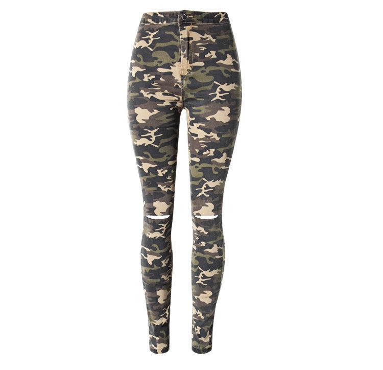 Compre Pantalones Vaqueros De Camuflaje Con Agujero Pantalones Vaqueros De  Camuflaje De Mujer Pantalón De Mezclilla De Cintura Alta Para Niña Empuja  Hacia ... 6f711106f54