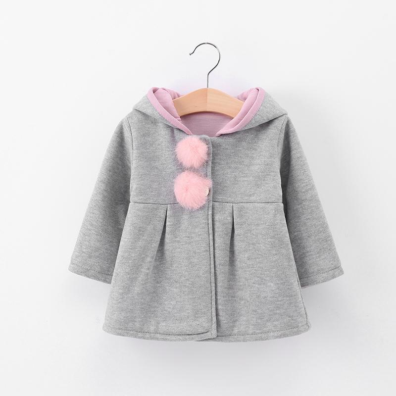 Lawadka Sevimli Tavşan Kulak Kapüşonlu Bebek Kız Ceket Yeni Sonbahar Çocuklar Sıcak Ceket Kabanlar Coat Çocuk Giyim Tops
