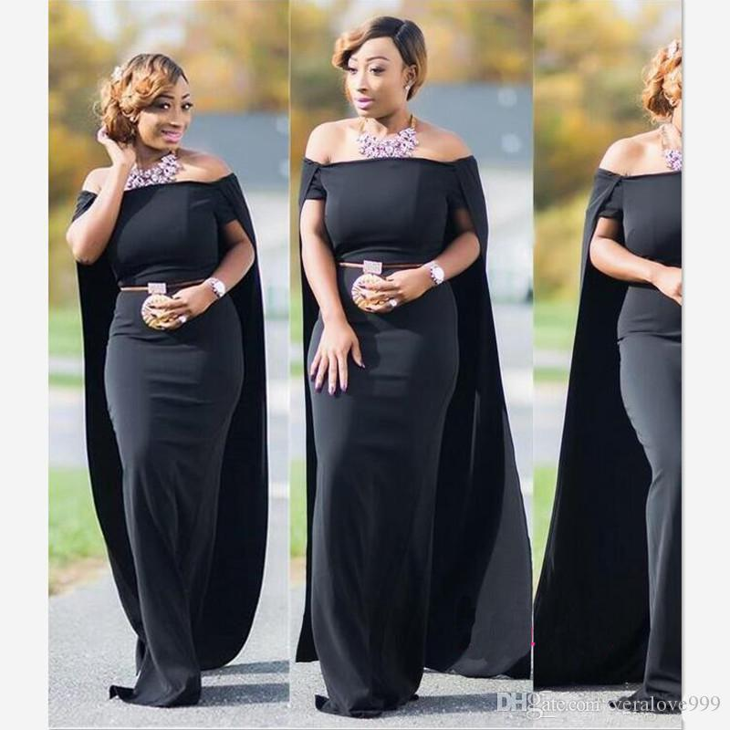 d14919b82286 Sexy Plus Size Prom Dresses With Cape Middle East Off The Shoulder Black  Chiffon Long Party Evening Gowns Floor Length Gowns For Sale Kids Prom  Dresses From ...