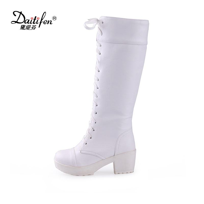 Daitifen Spring White Black Platform Boot Shoes Women High Heel Knee High  Boots Fashion Lace Up Ladies Office Party Chunky Heels Combat Boots Rain  Boots ... 829ea0470211