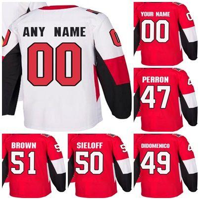 f20e6919a Factory Outlet Mens Womens Kids Ottawa Senators 47 Francis Perron 49 Chris  DiDomenico 50 Patrick Sieloff 51 Logan Brown Ice Hockey Jerseys 47 Francis  Perron ...
