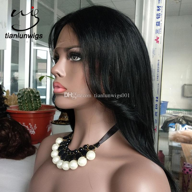 new style high layered center part human hair full lace wig with bangs black color human hair lace front wig for black women