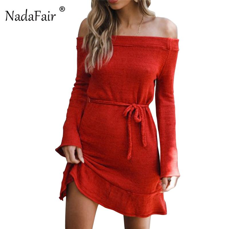 0a787a03b5 Nadafair Ladies Autumn/Winter Knitted Sweater Dress Off Shoulder Backless  Sexy Dress Plus size Women Casual Long Sleeve Dresses C18110801