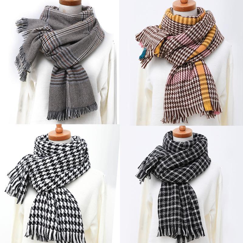 20959c25cb61 Diseñador Primavera Invierno 2018 Mujeres de punto Houndstooth Wrap Shraps  Gusano Plaid manta bufanda Unisex cómoda señora gruesas bufandas