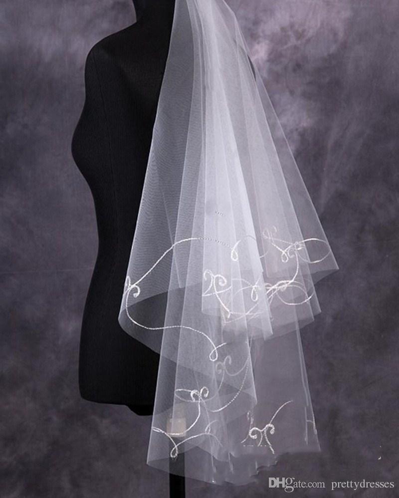 Accessori capelli da sposa nuziale di avorio nuziale rosso avorio di Tulle del velo nuziale poco costoso all'ingrosso 1.5m lungo semplice