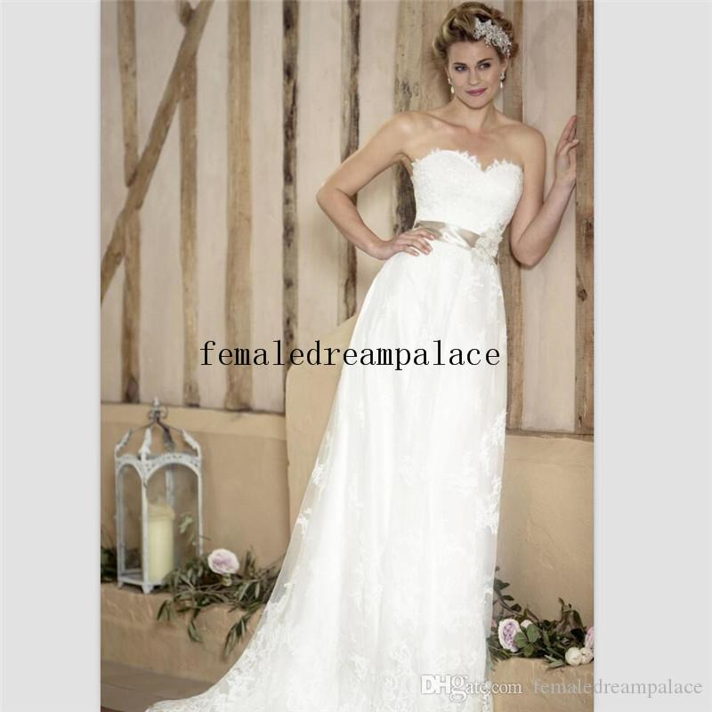 201b103cd0 Discount 2018 Vintage White Lace A Line Wedding Dresses Sweetheart Sweep Train  Bridal Gowns Custom Made Appliques Bridal Dress With Champagne Belt Monique  ...