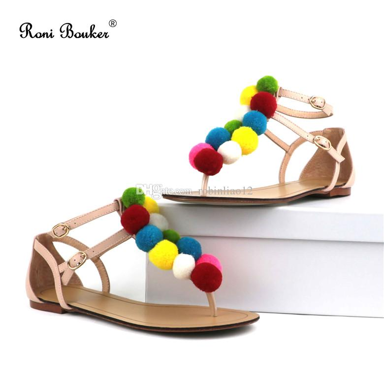 5765f0bb50905 Women Flat Heel Sandals Top Fashion Trend Newest Casual Lady Flip Flops  Multi Colored Shoes Custom Made Size35 41 Fringe Sandals Silver Wedges From  ...
