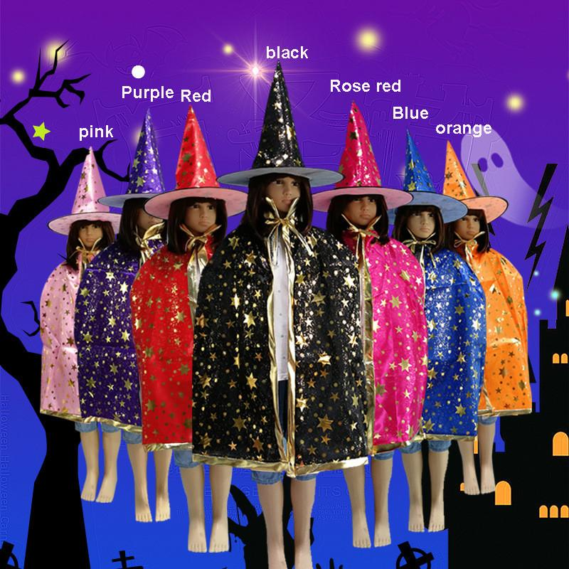 Halloween Costumes For 4 Friends.New Kids Happy Halloween Day Wizard Witch Cape Pumpkin Star Gilding Cloak Rope For Boys Gilrs Costume Birthday Party Cosplay Xmas 7 Colors
