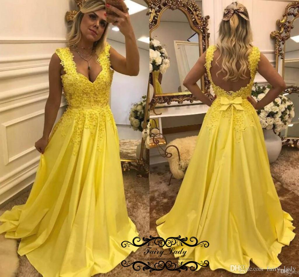 Fabulous Beading Yellow Prom Dresses 2018 Sexy Backless Appliques ...