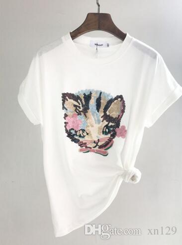 7292a7669 Compre Camisa Mujeres Gato Diseño Camisetas Lentejuelas Camiseta Novedad O  Cuello Manga Corta Algodón Gato Bordado Tops A  41.19 Del Xn129