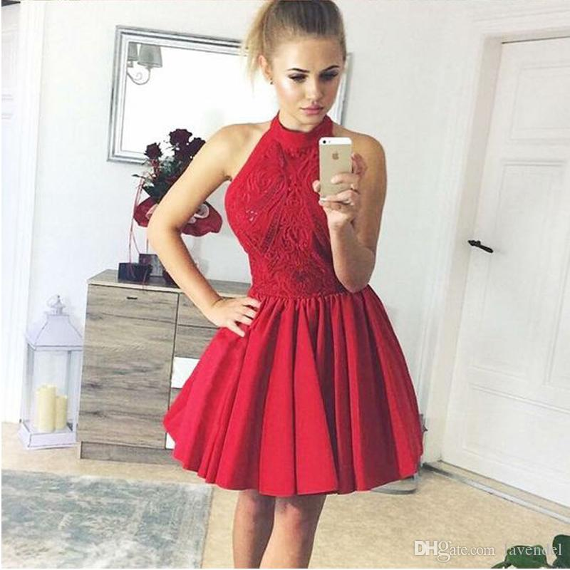 9e9ea79fd99f 2018 A-Line Halter Backless Red Satin Homecoming Dress with Lace ...