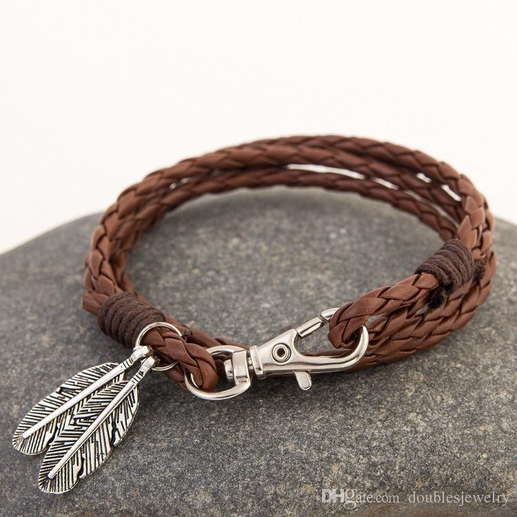 Bursting adornos europeos y americanos tejidos a mano de múltiples capas cuerda de cuero cadena de mano hoja modelado cómodo policromático opcional quien