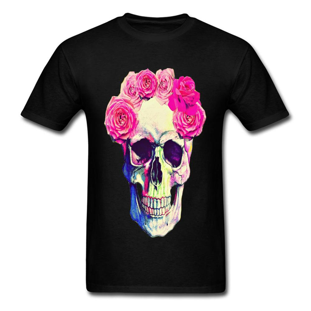 d42de583f 2018 Sugar Skull T Shirt Mens Summer Cool T Shirt Full Cotton Clothes  Street Style Rose Floral Skull Punk Metal Death Tshirt Funny T Shirts For  Men Make T ...