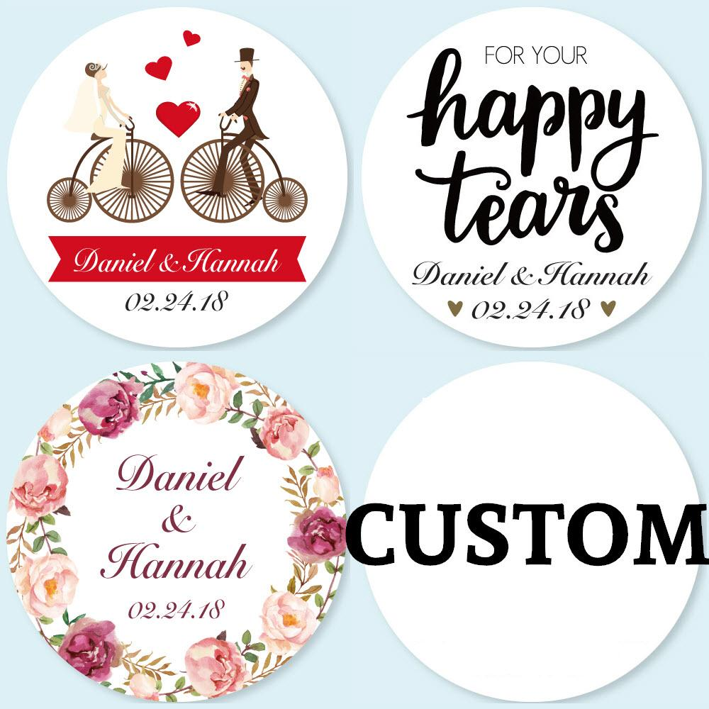Cm Customized Personalized Wedding Stickers Logos Candy Favor Boxes Tags Cupcake Bottle Labels Invitations Seals Calla Lily Wedding Favors Cheap