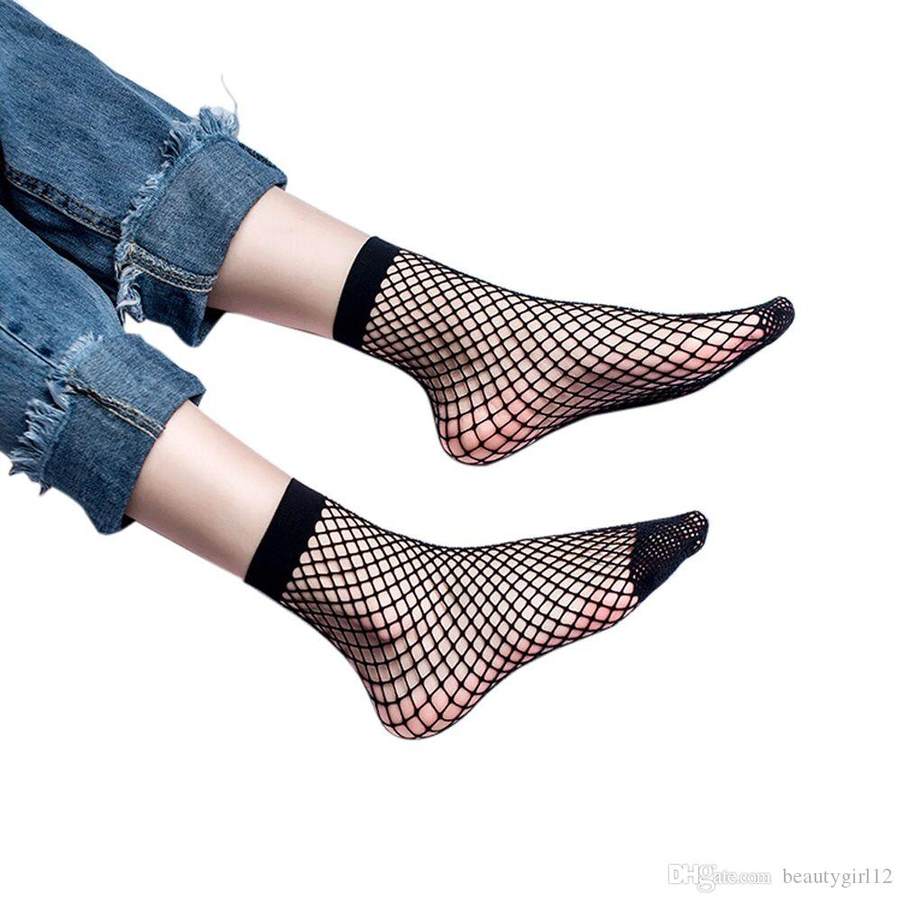2017 Hot Punk Women Girls Sexy Black Hollow Out Breathable Mesh Fishnet Socks Female Gothic Stretchable Short Hosiery Ankle Socks